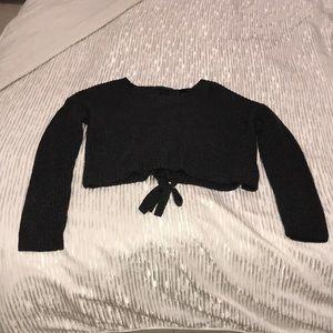 Cropped dark gray tie sweater